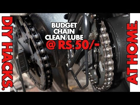 HOW TO CLEAN/LUBE MOTORCYCLE CHAIN AT HOME @ RS.50. | DIY
