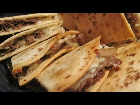 Homemade Philly Cheesesteak Quesadilla and Salsa!