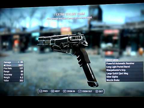 Fallout 4 Legendary 10mm Pistols some small arms weapons Xbox 1 no mods