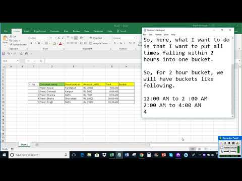 Group times into 2 hour buckets in Excel