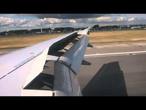 Air France Airbus A319 landing at London Heathrow LHR Terminal 4