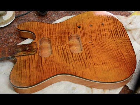 Joe Perry Boneyard Finish on a Tele Hollowbody guitar body Luthier How to
