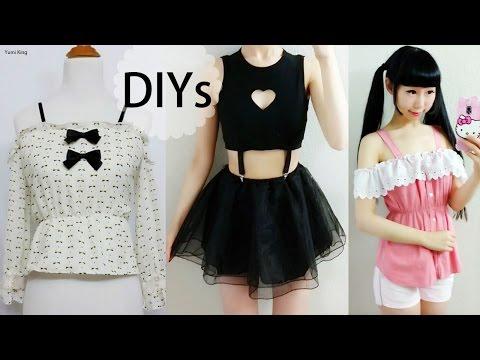4 DIY Shirt/Top/Blouse Transformations | DIY Heart Keyhole Suspender Top | DIY Off Shoulder Blouses