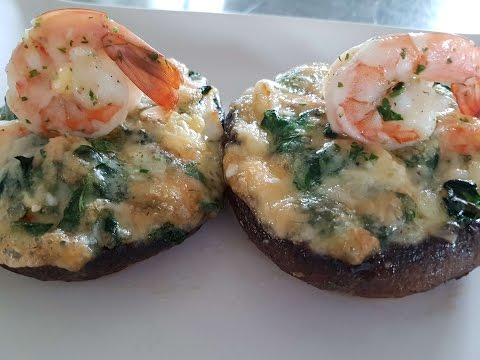 Stuffed Portobello Mushrooms with Shrimp spinach & Brie cheese
