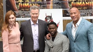 Kevin Hart's Full Handprint and Footprint Ceremony with Dwayne Johnson, Will Ferrell, Karen Gillan