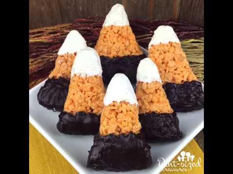 Candy Corn Inspired Krispie Treats