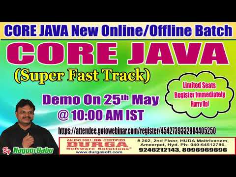 CORE JAVA (Super Fast Track) Online Training in DURGASOFT