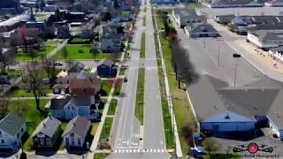 Michigan City, Indiana Ghost Town Stay At Home Order drone footage of Lock Down 4K