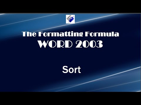 Word 2003   Sort   Learn How to Sort Text, Numbers and Columns