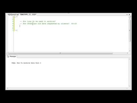 TSQL: How To Archive Data Part I