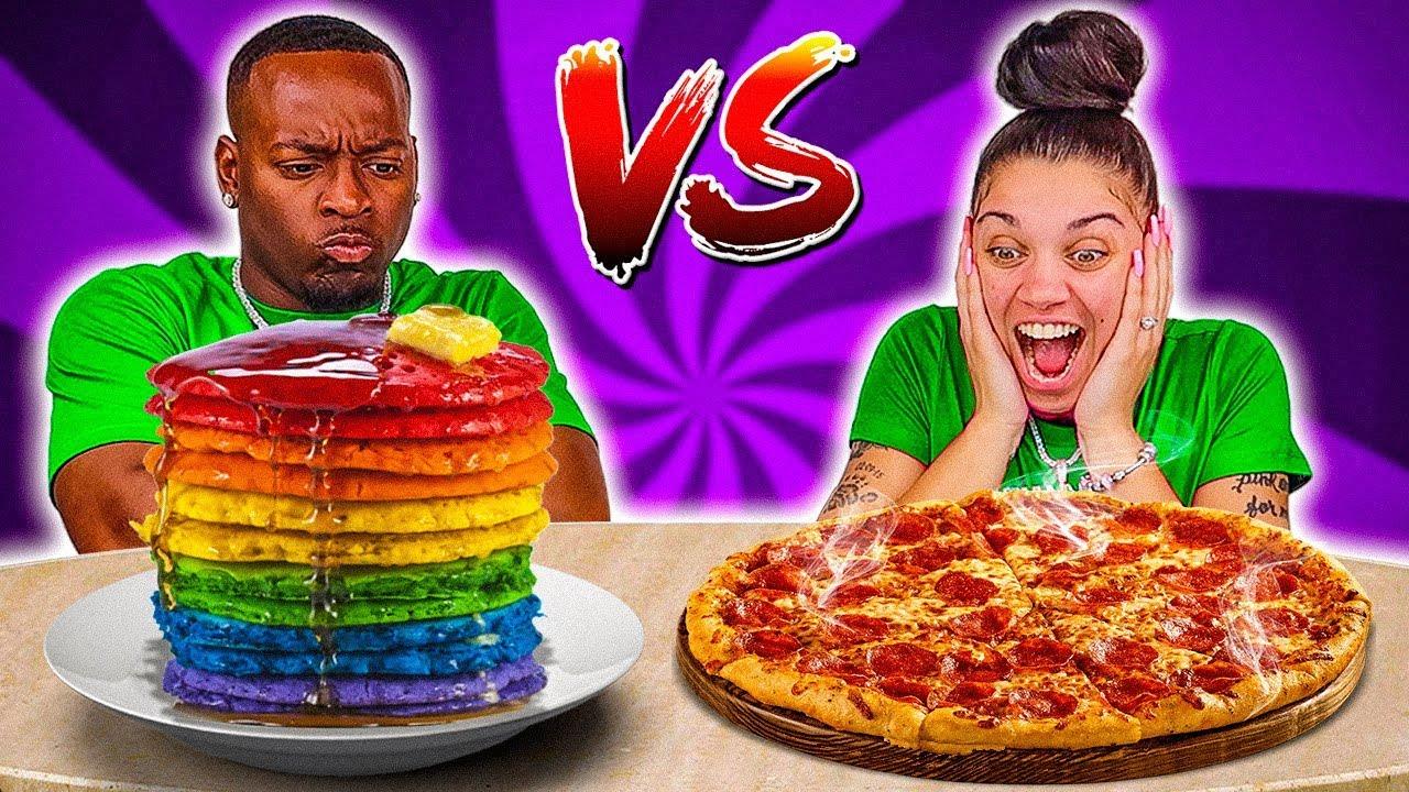 BREAKFAST VS DINNER FOOD CHALLENGE
