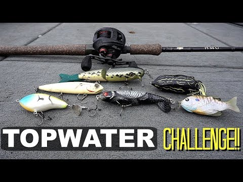 Topwater Lures ONLY Fishing CHALLENGE!!! *Epic Blowups!!*
