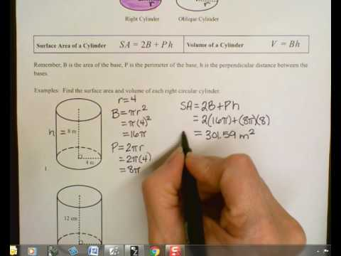 Surface Area and Volume of Right Cylinders