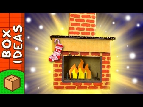 DIY Cardboard Fireplace | Christmas Craft Ideas for Kids on BoxYourself