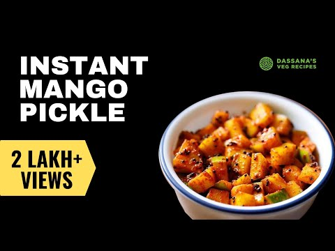 instant mango pickle - 15 minutes mango pickle recipe, how to make instant mango pickle