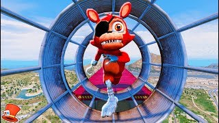 ADVENTURE FOXY ANIMATRONIC ULTIMATE DEATHRUN! (GTA 5 Mods For Kids FNAF RedHatter)