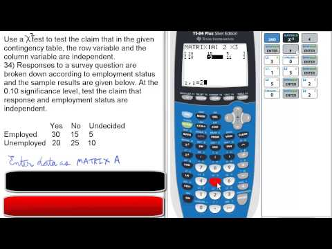 Use Chi-Square (X^2) Test for Contingency Table. TI 84. Stats 160 Final Review 34A