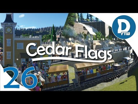 Let's Design Cedar Flags Ep. 26 - Train Station, Food Plaza, and Retaining Wall - Planet Coaster