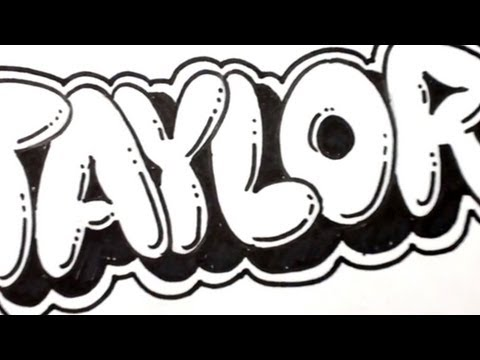 How to Draw Bubble Letters - Taylor in Graffiti Name Art | MAT