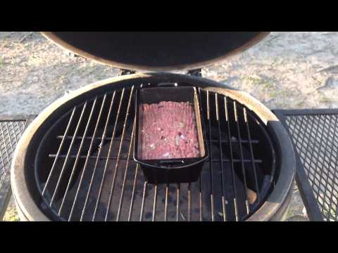 How to Make Bison Meatloaf on the Big Green Egg in a Lodge Cast Iron Loaf Pan