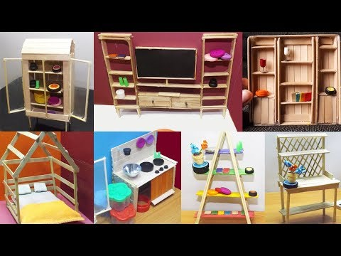 8 Easy Popsicle Stick Crafts #3 - Dollhouse Furniture | DIY & Craft ideas