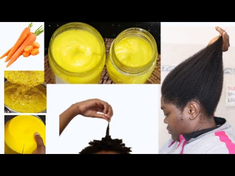 DIY Carrot oil creamy with coconut oil for moisturizing dry natural hair and reduce split end.