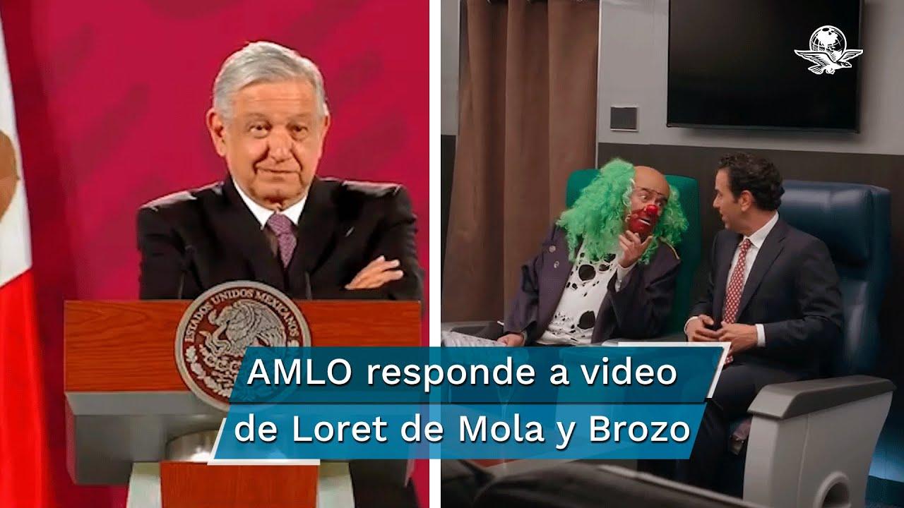 """""""¿Quién pompó?"""", pregunta AMLO a """"Brozo"""" y Loret de Mola"""