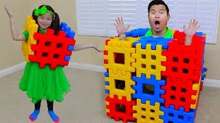 Download Jannie Pretend Playing with Colored Toy Blocks Video