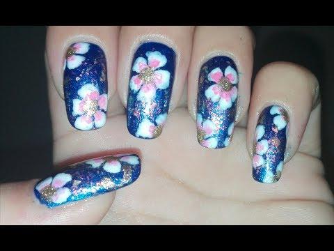 DIY Spring Flowers Nail Art Tutorial (Chameleon Flakes | beautybigbang) Nail Art Design | Rose Pearl