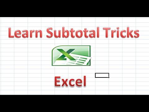Learn Subtotal Tricks
