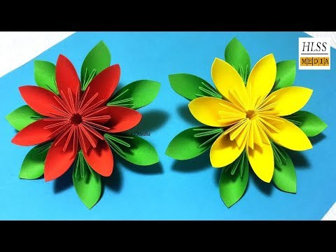 How to make an easy origami paper flower - Paper flower folding step by step