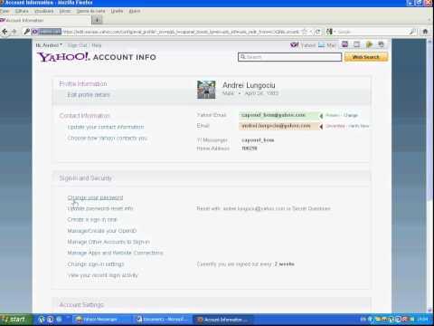 How do I change the password from yahoo messenger ( Cum schimb parola de la yahoo messenger )