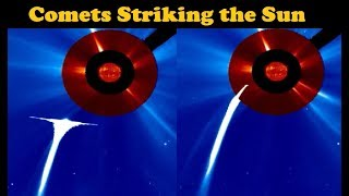 Comets Striking the Sun (As Seen From Space Satellite)