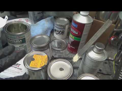1964 VW Bug parts ready for paint. Checking color match