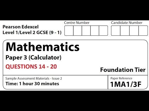 Revise Edexcel Maths Foundation Paper 3 - Questions 14 - 20