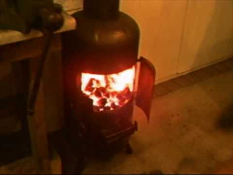 Gas bottle Wood burning stove, fitted in Lukes garage. One of the best petethewrist