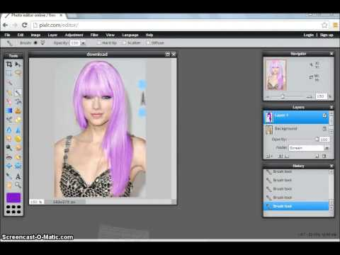 How to change hair color easily on Pixlr (: