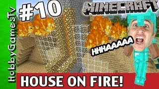Minecraft HOUSE on FIRE! Diamond Armor Steve Xbox One HobbyDude World HobbyGamesTV