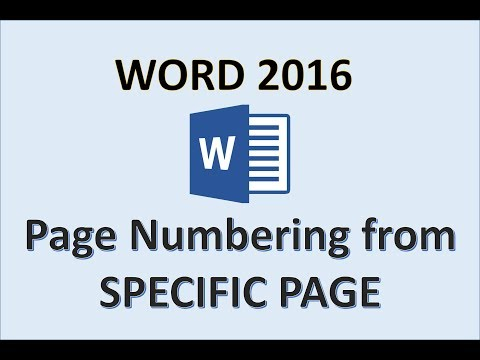 Word 2016 - Page Numbers Starting from a Specific Page - How To Number Start Pages in Add Numbering
