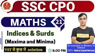 Class 21 || SSC CPO || MATHS || | By Vikas Sir ( 17+ Year Exp ) || Indices & Surds