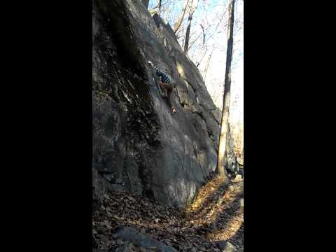 Climbing at St. John's Ledges. Kent, CT. 5.10