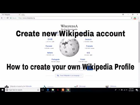 How to create new Wikipedia account or profile
