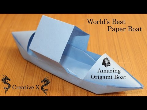 Paper Boat that Floats on Water - Cool amazing Origami Boat Tutorial (paper craft) Creative X