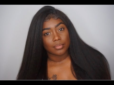 Kinky Straight Brazilian Remy Hair  Lace Front Wigs 130 Density | Elva Hair Wigs