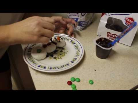 Make a Snowman With Donuts for Breakfast