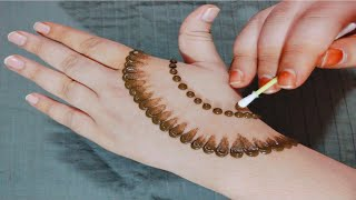 Easy Simple Mehndi Design Back Hand | New Cotton Bud Mehndi Design Trick | Mehendi Designs
