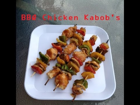 BBQ CHICKEN KABOBS ON THE GRILL