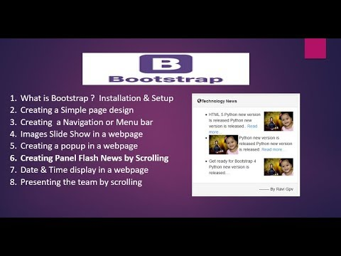 How to create Flash news Notification Scrolling in Website by Bootstrap Jquery Plugin