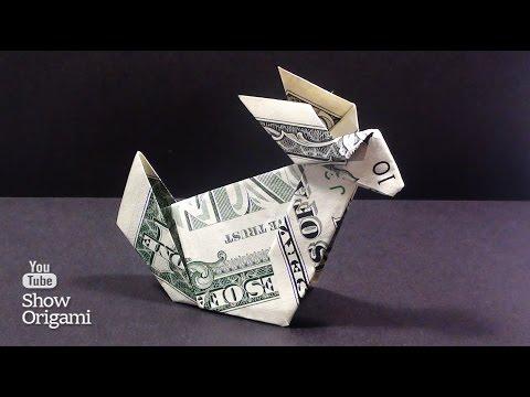 Оригами из денег -  Как сделать кролика из доллара