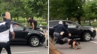 Shocking moment car runs over protester at George Floyd demonstration in Denver